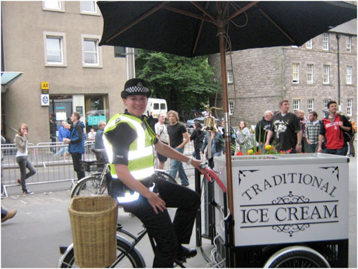 Traditional ice cream on traditional bike for hire in Scotland